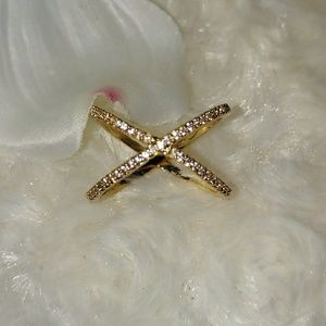 Beautiful Gold Pave X Ring NWT